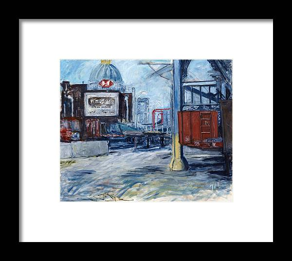 Cityscape Industrial New York Framed Print featuring the painting Williamsburg1 by Joan De Bot