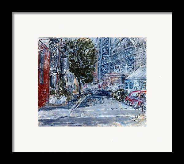 Cityscape Industrial Tree Cars Blue Grey Bridge Framed Print featuring the painting Williamsburg2 by Joan De Bot