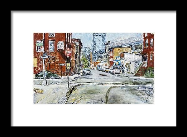City Scape New York Bridge Road Houses Cars Framed Print featuring the painting Williamsburg3 by Joan De Bot