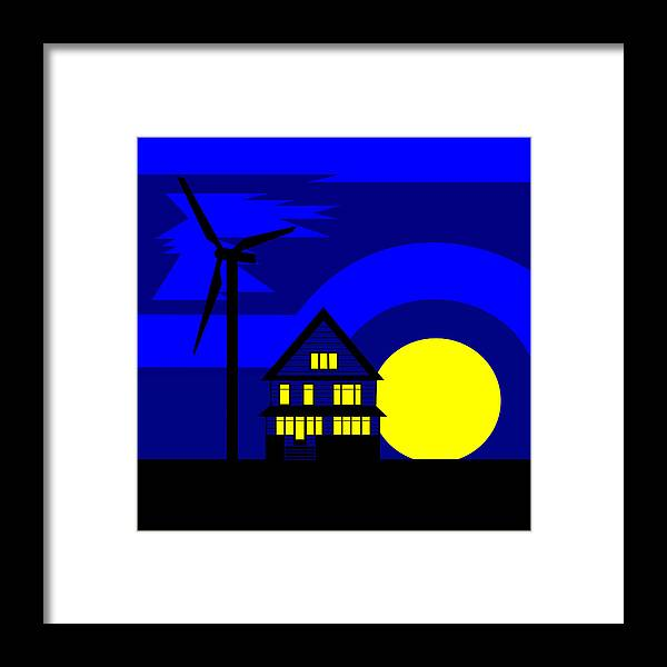 Energy Framed Print featuring the painting Wind And Sun by Asbjorn Lonvig