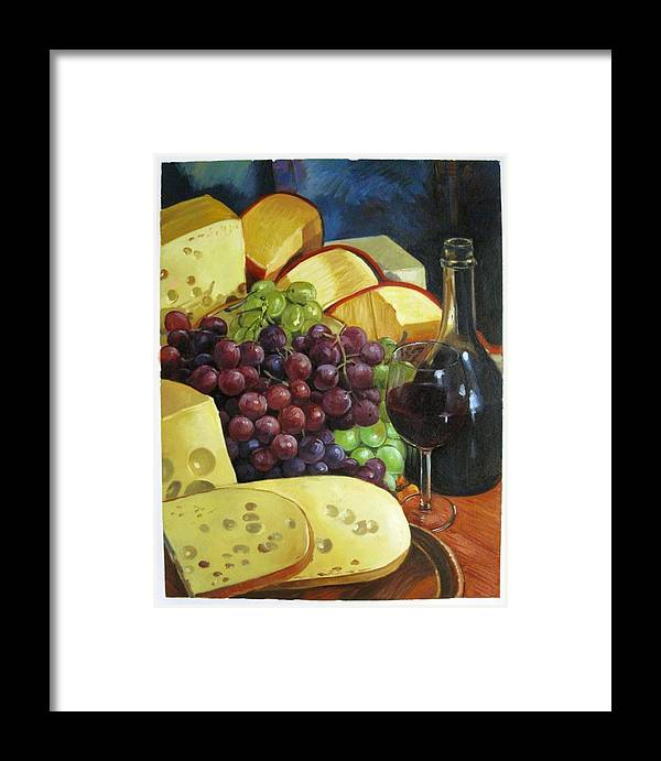 Colorful Framed Print featuring the painting Wine And Cheese by Aziz Mohammed
