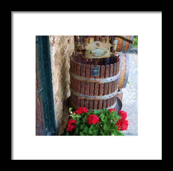 Geraniums Framed Print featuring the photograph Wine And Geraniums by Debbi Granruth