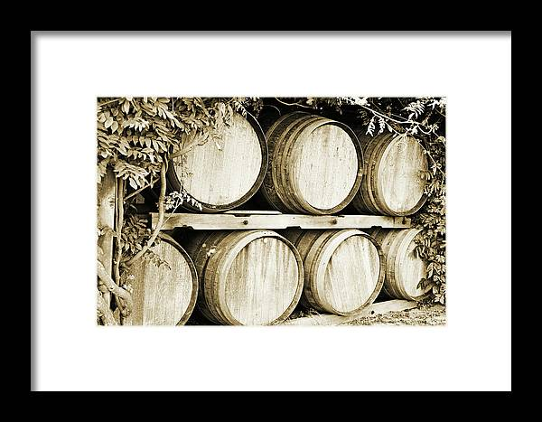 Wine Framed Print featuring the photograph Wine Barrels by Scott Pellegrin