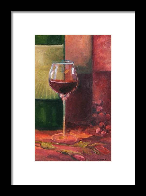 Wine Framed Print featuring the painting Wine Glass by Gail Salitui