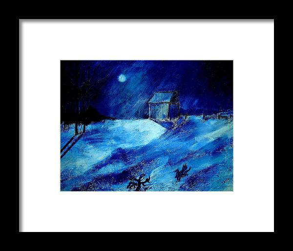 Landscape Framed Print featuring the painting Winter Moon by Kent Whitaker