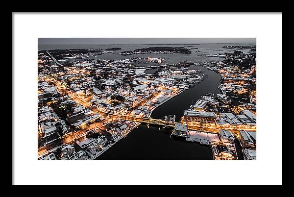 Winter Framed Print featuring the photograph Winter Twilight In Mystic Connecticut by Petr Hejl