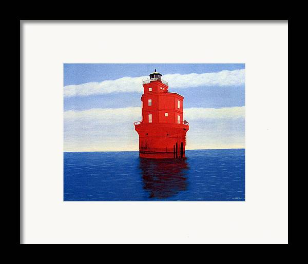 Lighthouse Paintings Framed Print featuring the painting Wolf Trap Lighthouse by Frederic Kohli