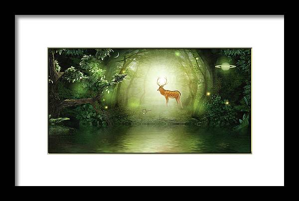 Symbolic Digital Art Framed Print featuring the digital art Wood Glade by Harald Dastis