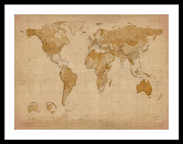 World Map Framed Print featuring the digital art World Map Antique Style by Michael Tompsett