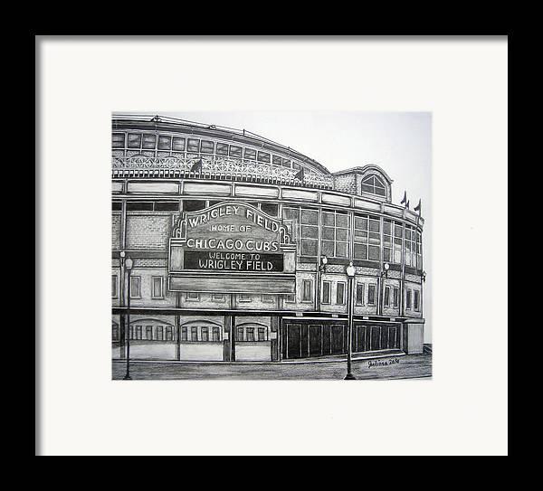Wrigley Field Framed Print featuring the drawing Wrigley Field by Juliana Dube