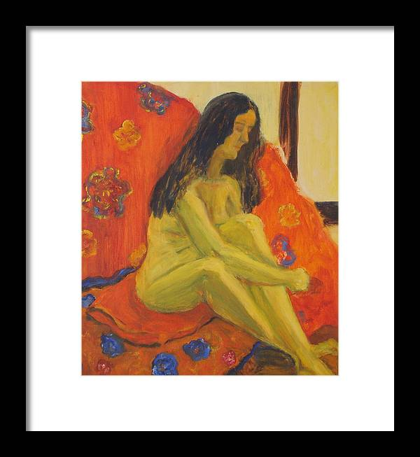 Yellow Framed Print featuring the painting Yellow Nude by Lessandra Grimley
