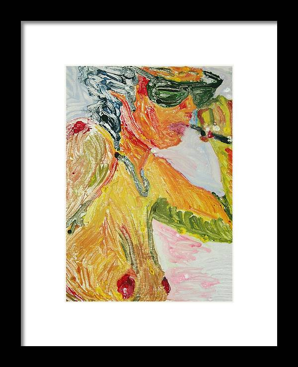 Nude Framed Print featuring the painting Yellow Smoker by John Toxey