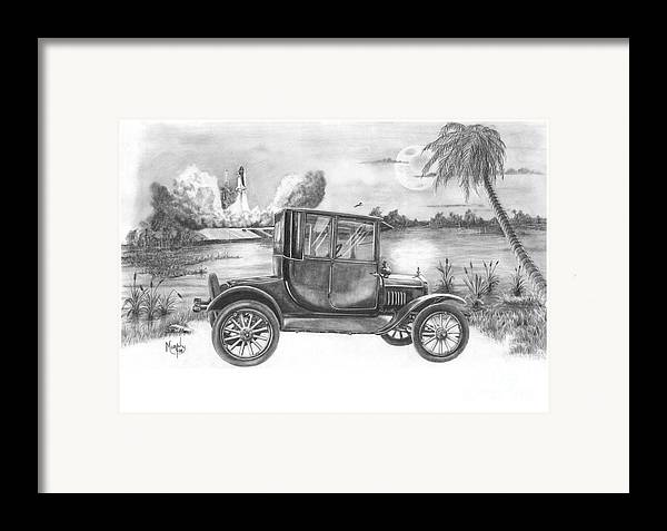 Pencil Framed Print featuring the drawing Yesterday And Today by Murphy Elliott