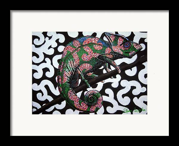 Chameleon Framed Print featuring the painting You Cant See Me by Sharon Supplee