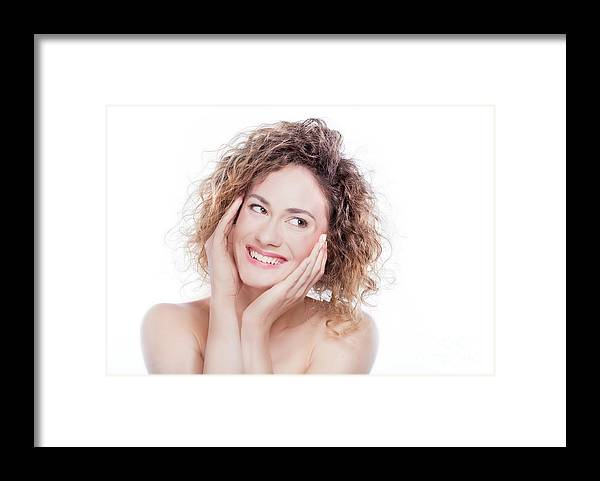 Woman Framed Print featuring the photograph Young Smiling Woman With Curly Hair Portrait On White by Michal Bednarek