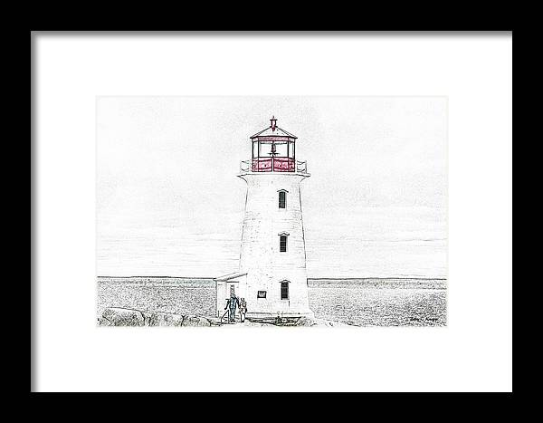 Lighthouse Framed Print featuring the mixed media You're My Beacon Peggy's Cove Lighthouse by Betsy Knapp