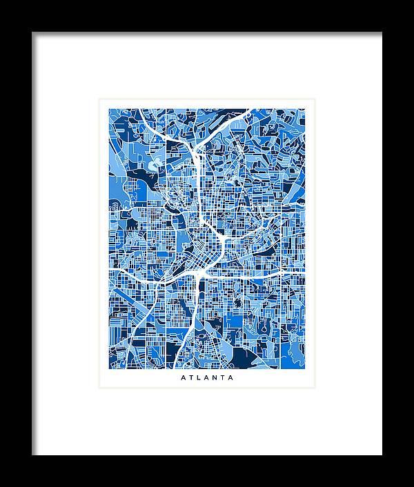 City Map Of Atlanta Georgia.Atlanta Georgia City Map Framed Print By Michael Tompsett