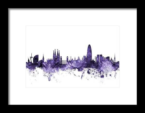 Barcelona Framed Print featuring the digital art Barcelona Spain Skyline 10 by Michael Tompsett