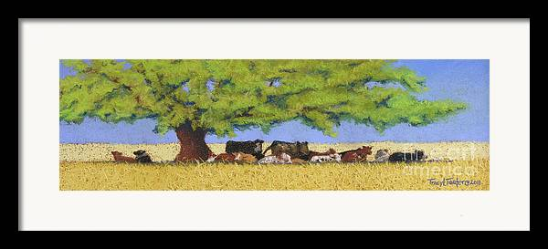 Cows Framed Print featuring the pastel 100 Degrees Plus by Tracy L Teeter