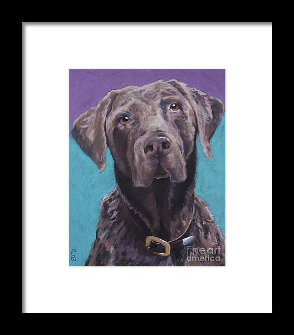 Pet Portrait Commissions Framed Print featuring the pastel 100 Lbs. Of Chocolate Love by Pat Saunders-White