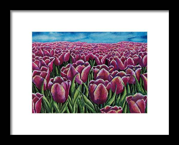 Tulips Framed Print featuring the painting 1000 Tulpis by Conni Reinecke