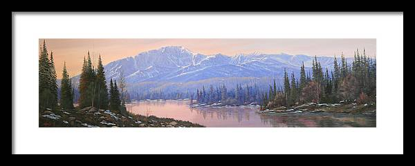 Pikes Peak Framed Print featuring the painting 100214-1036 Dawns Early Light - Pikes Peak by Kenneth Shanika
