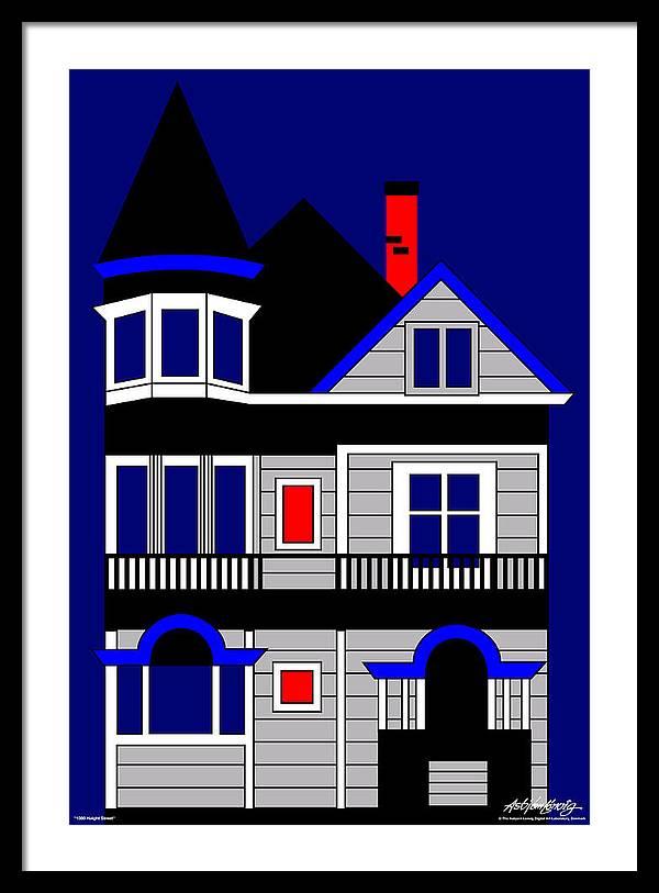 Framed Print featuring the digital art 1080 Haight Street by Asbjorn Lonvig