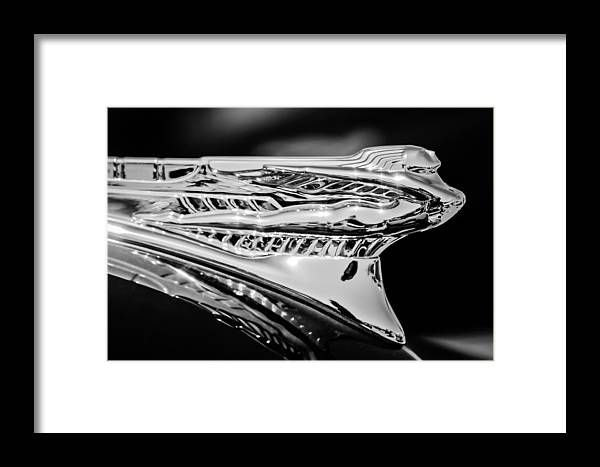 1946 Desoto Framed Print featuring the photograph 1946 Desoto Hood Ornament -169bw by Jill Reger