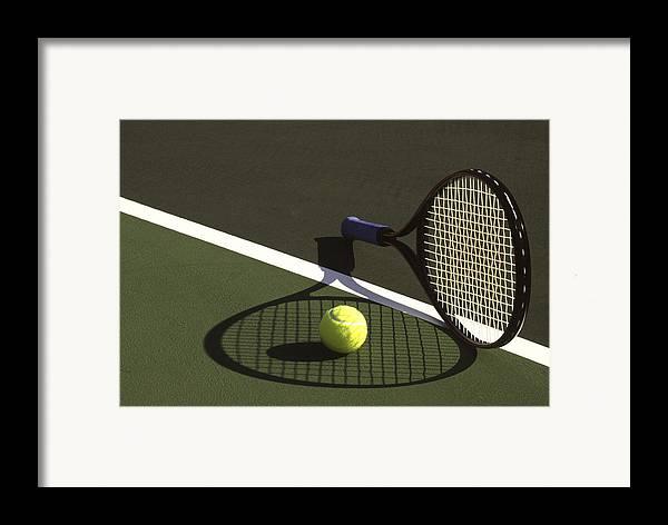 Tennis; Racquet; Ball; Balls; Shadow; Game; Games; Sport; Sports; Shadow; Tennis Ball; Tennis Racquet; Competition Framed Print featuring the photograph 10sne1 by Gerard Fritz