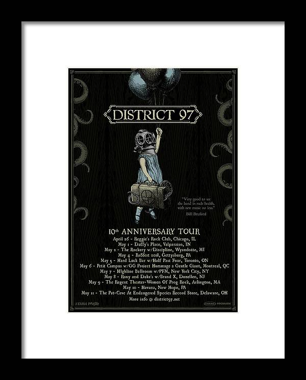 Framed Print featuring the digital art 10th Anniversary Tour by District 97