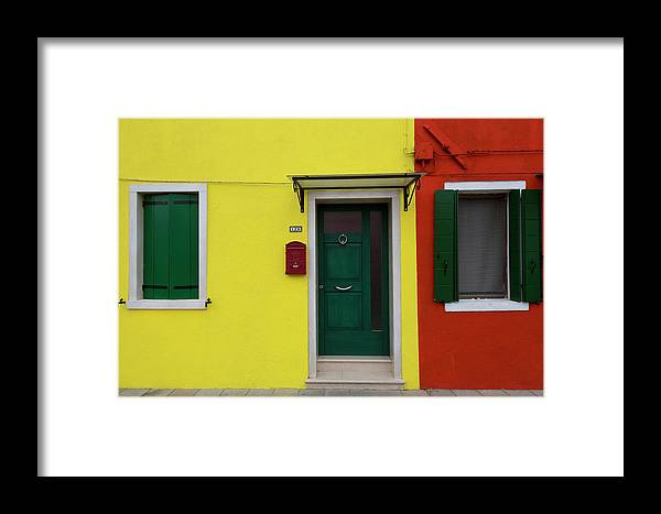 Architecture Framed Print featuring the photograph Burano Anisland Of Multi Colored Homes On Canals North Of Venice Italy by Bruce Beck
