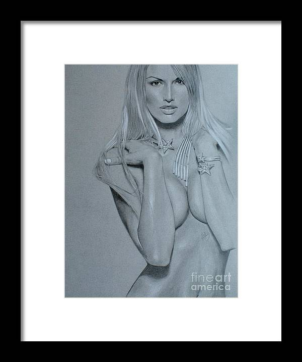 Woman Framed Print featuring the drawing No Title by Marek Halko