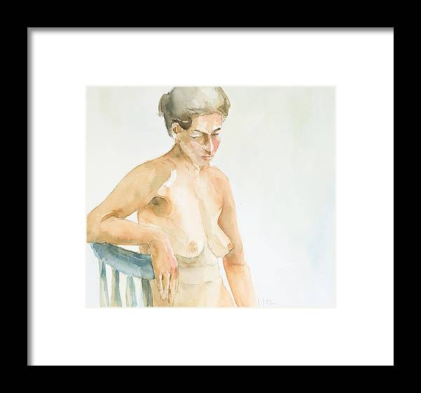 Nude Woman Framed Print featuring the painting Nude Series by Eugenia Picado