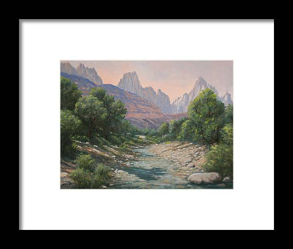 Rocky Mountains Framed Print featuring the painting 110124-1216  Bryce Canyon Run-Off by Kenneth Shanika