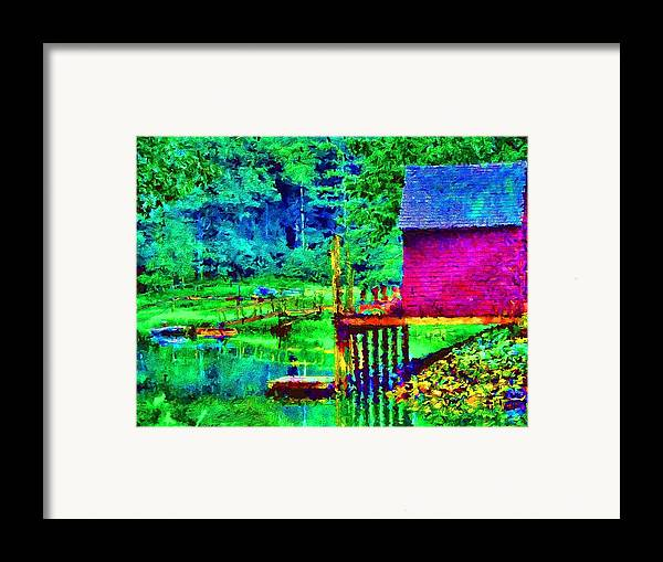 Boathouse Framed Print featuring the painting 11052008a Boat House On The Inlet by Ed Immar
