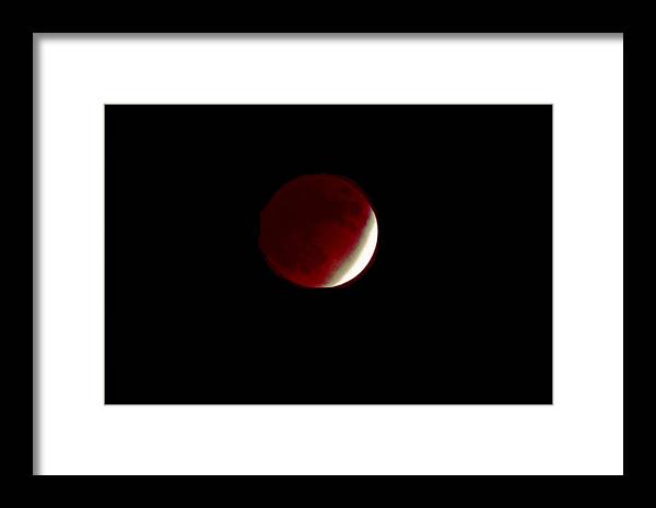 Moon Framed Print featuring the photograph 110808-1 Lunar Eclipse Near Totality by Mike Davis