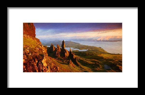 Landscape Framed Print featuring the painting Nature Art Landscape Canvas Art Paintings Oil by World Map