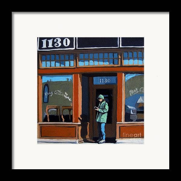 Woman Framed Print featuring the painting 1130 High St. by Linda Apple