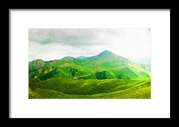 Landscape Framed Print featuring the painting Nature Landscape Art by World Map