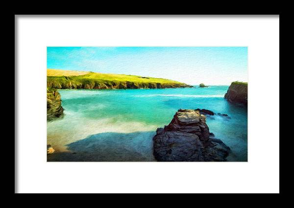 Landscape Framed Print featuring the painting Nature Cool Landscape by World Map
