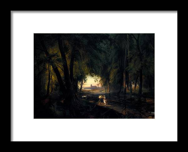 Painting Framed Print featuring the painting Forest Path Near Spandau by Carl Blechen