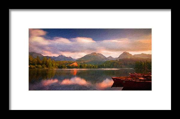 Landscape Framed Print featuring the painting Nature Landscape Graphics by World Map