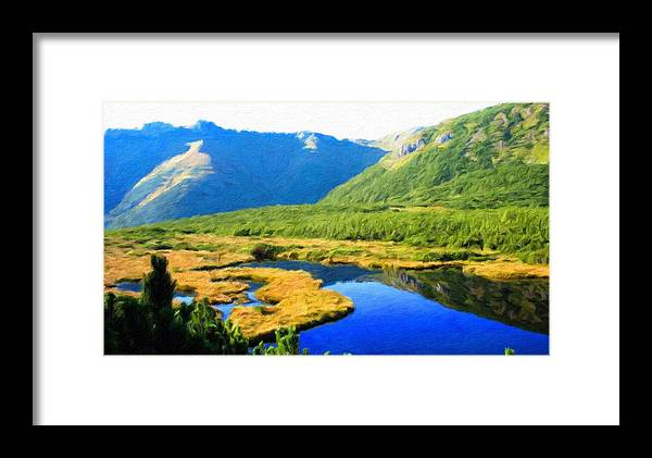Landscape Framed Print featuring the painting Nature Landscape Oil Painting by World Map