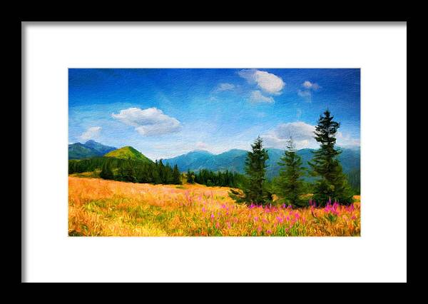 Landscape Framed Print featuring the painting Oil Painting Landscape Pictures Nature by World Map