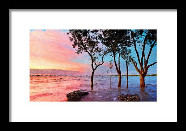 Landscape Framed Print featuring the painting A Landscape Nature by World Map