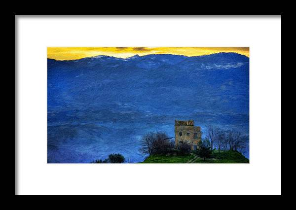 Landscape Framed Print featuring the painting Nature Oil Canvas Landscape by World Map
