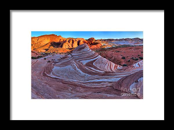 Fire Wave Framed Print featuring the photograph Fire Wave Panorama by Adam Jewell