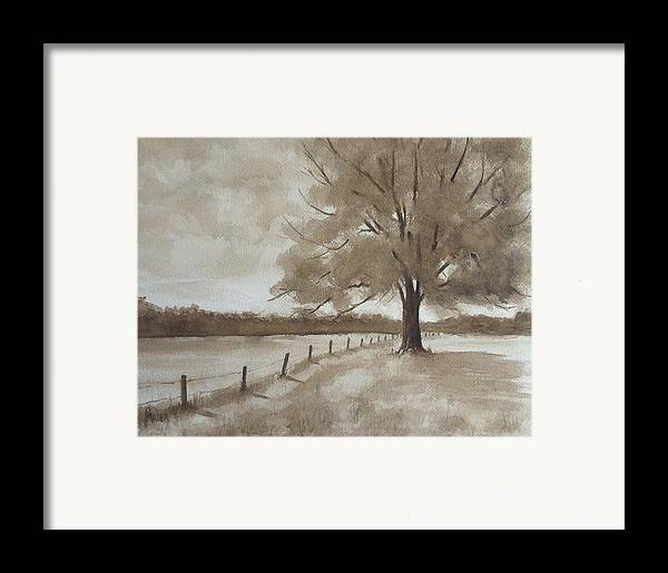 Landscape Framed Print featuring the painting 124s Sepia by Pete Maier