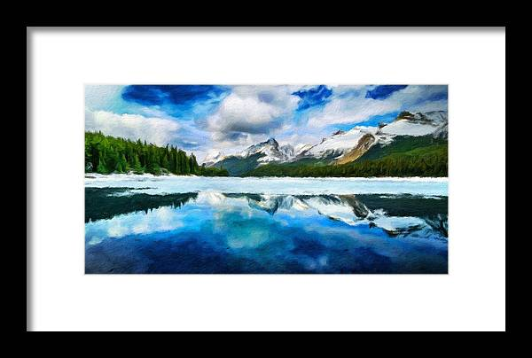 Landscape Framed Print featuring the painting Nature Landscape Oil Painting For Sale by World Map