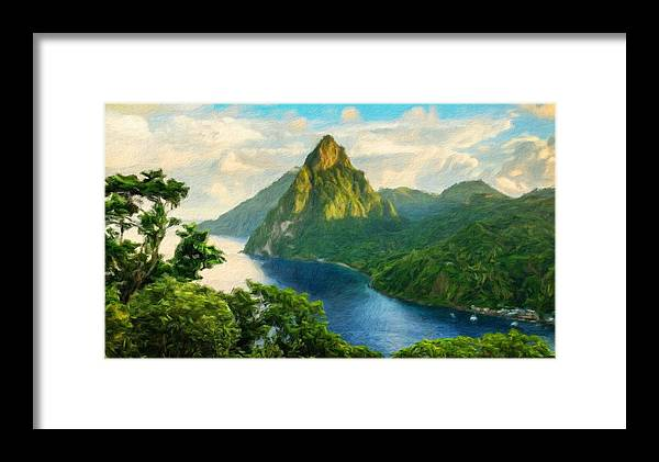 Landscape Framed Print featuring the painting Landscape Art Nature by World Map